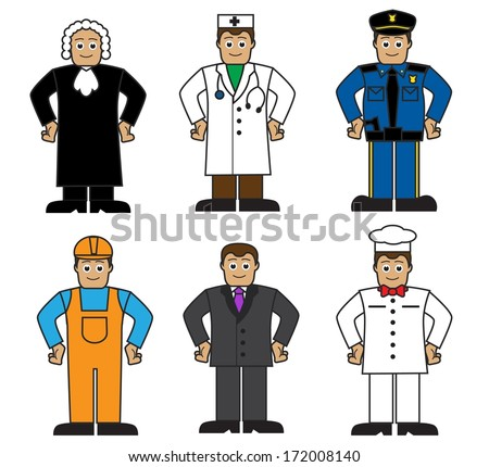 Cartoon set of people of different professions on a white background - stock photo