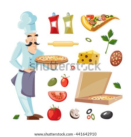 Cartoon set with ingridients of pizza. Tomato, cheese and mushrooms isolate on white background. Cook offers pizza on tray