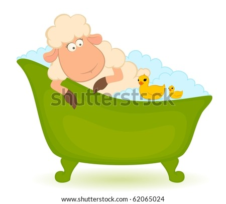 Cartoon sheep in bath is isolated on white background - stock photo