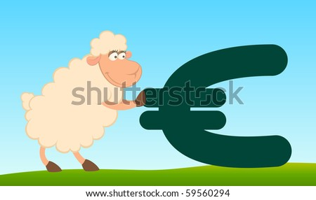 cartoon sheep with the sign of euro - stock photo