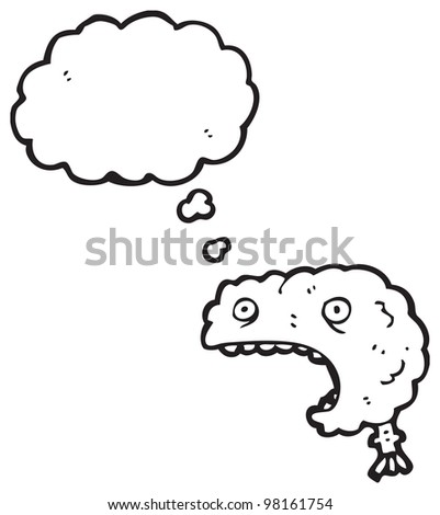 cartoon shocked brain - stock photo