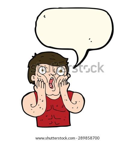 cartoon shocked gym man with speech bubble - stock photo