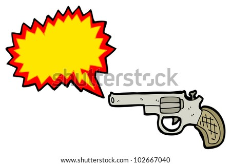 cartoon shooting gun - stock photo