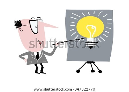 Cartoon showing business executive pointing at light bulb bright idea symbol on chart. - stock photo