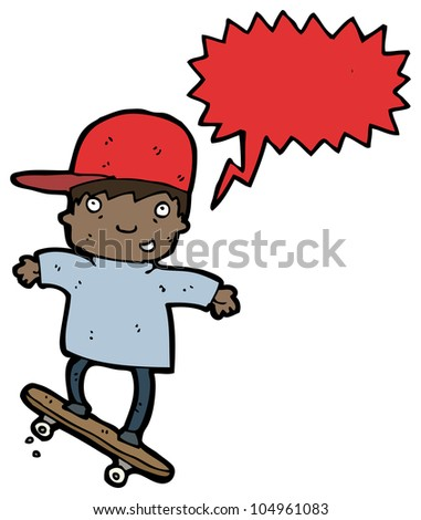 cartoon skateboarding kid