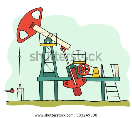 Cartoon sketch field  pumpjack. Colored oil well illustration.  Hand drawn illustration with oil equipment isolated on white. - stock photo