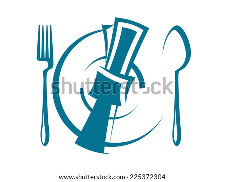 Cartoon sketch of a stylized dinnertime table setting with a fork and spoon on either side of a napkin lying on top of a plate, overhead perspective - stock photo