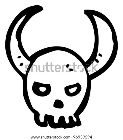 cartoon skull with horns