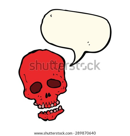 cartoon skull with speech bubble - stock photo