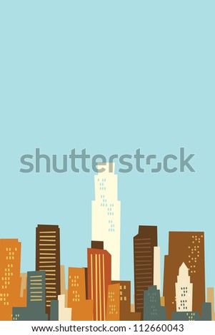 Cartoon skyline silhouette of Los Angeles, California, USA.