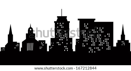 Cartoon skyline silhouette of the city of Lancaster, Pennsylvania, USA.