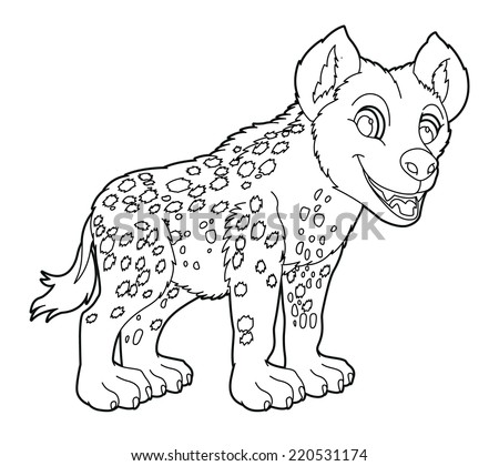 Cartoon small animal - coloring page - hyena - illustration for the children - stock photo
