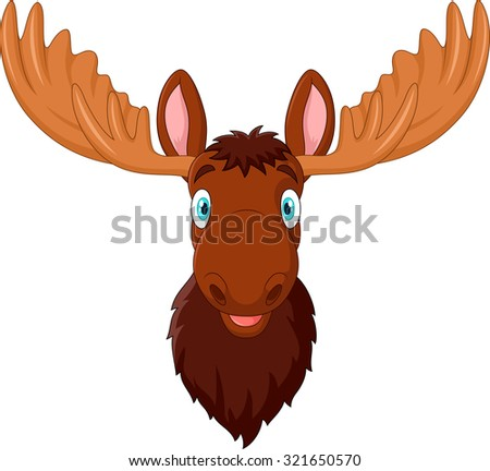 Cartoon smile moose head on isolated background - stock photo
