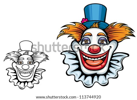 Cartoon smiling circus clown in hat for entertainment design. Vector version also available in gallery - stock photo