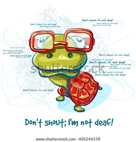 Cartoon smiling green turtle character. illustration raster turtle - emotional postcard - stock photo