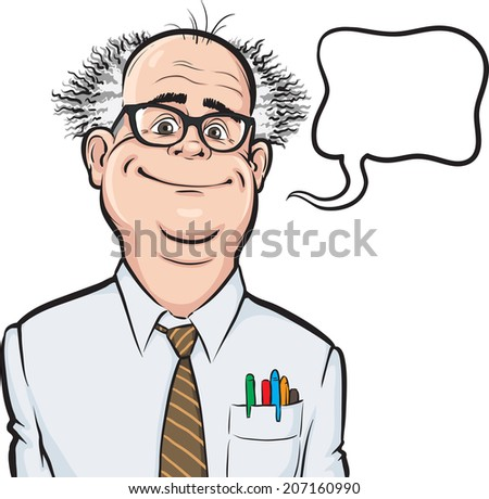 cartoon smiling mad professor on white background - stock photo