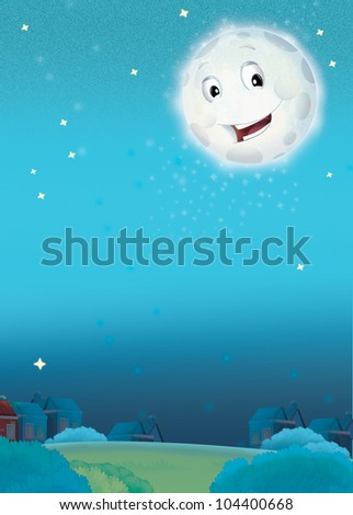 Cartoon smiling moon by the night