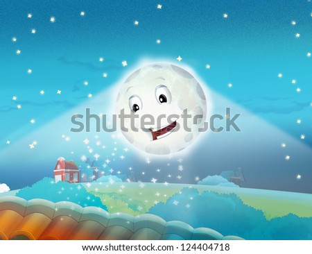 Cartoon smiling moon by the night with the stars - stock photo