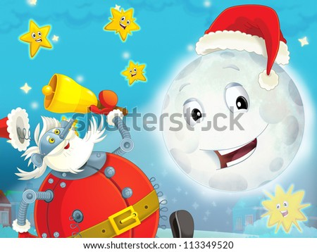 Cartoon smiling moon by the night with the stars - christmas friends and robots - illustration for the children - stock photo