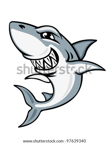 Cartoon smiling shark for mascot and emblem design, such  a logo. Vector version also available in gallery - stock photo
