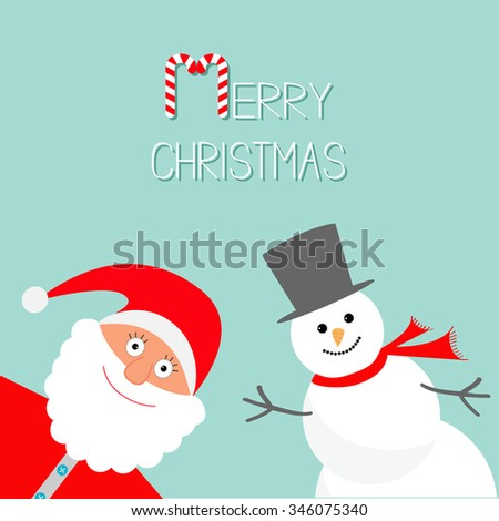 Cartoon Snowman and Santa Claus. Blue background. Candy cane. Merry Christmas card. Flat design - stock photo