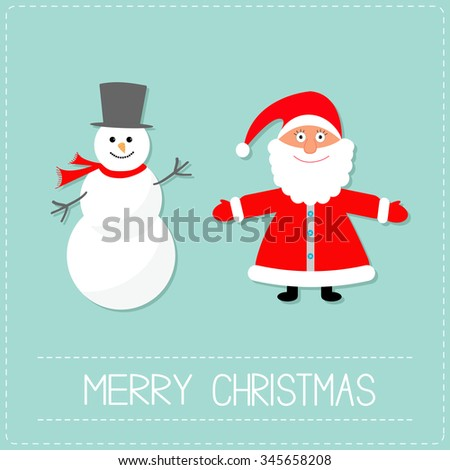 Cartoon Snowman and Santa Claus. Blue background. Dash line. Merry Christmas card. Flat design  - stock photo
