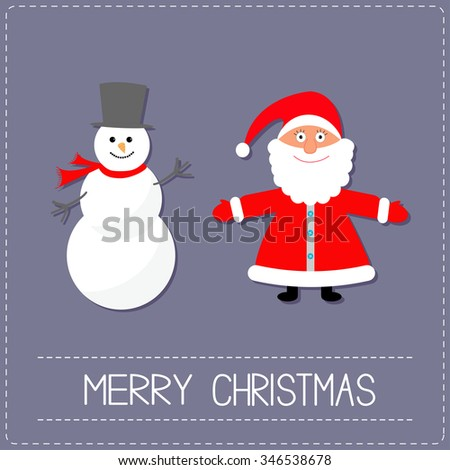 Cartoon Snowman and Santa Claus. Violet background. Dash line. Merry Christmas card. Flat design  - stock photo