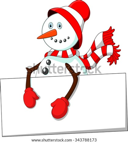 cartoon snowman holding blank sign