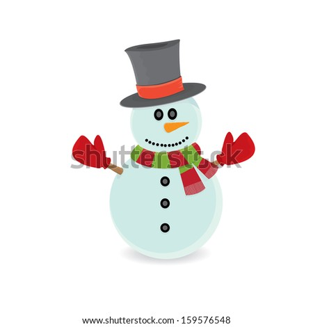 cartoon snowman isolated on white. merry christmas background. raster version