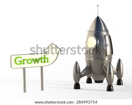 Cartoon Space Rocket Ready for Launch With Signpost - Growth Concept - stock photo