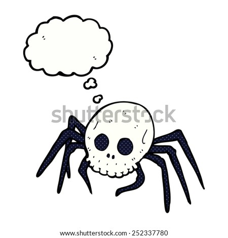 cartoon spooky halloween skull spider with thought bubble
