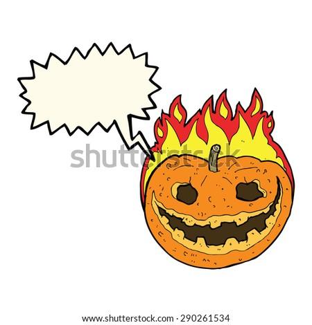 cartoon spooky pumpkin with speech bubble - stock photo
