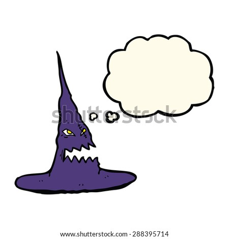 cartoon spooky witches hat with thought bubble - stock photo