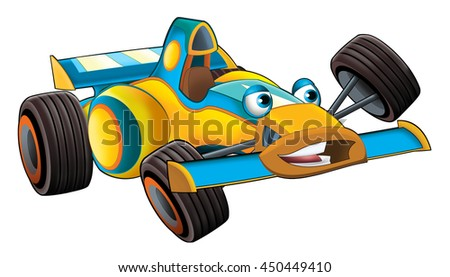 Cartoon sports car racing - isolated - illustration for the children - stock photo