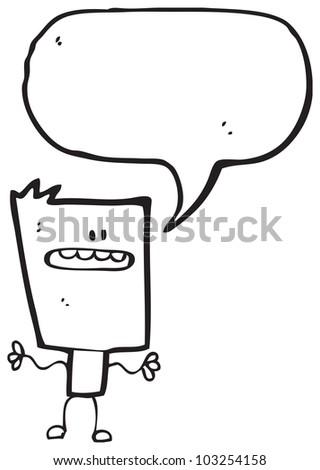 cartoon square head man - stock photo
