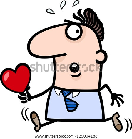 Cartoon St Valentines Illustration of Late Running Man in Love with Heart or Valentine Card