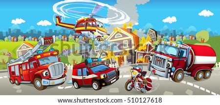 Cartoon stage with different machines for firefighting - tracks motorbike and helicopter - colorful and cheerful scene - illustration for children