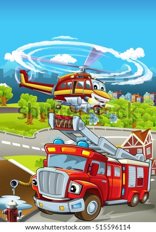 Cartoon stage with different machines for firefighting - truck and helicopter - colorful and cheerful scene - illustration for children