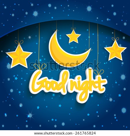 Cartoon star and moon wishing good night. Illustration background.