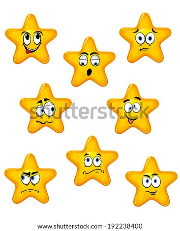 Cartoon stars set with different emotions for design. Vector version also available in gallery - stock photo