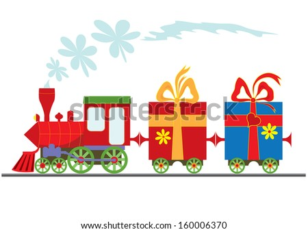 cartoon  steam locomotive with gift boxes - stock photo