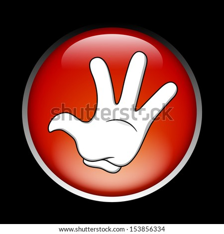 Cartoon stop hand on the red button - stock photo