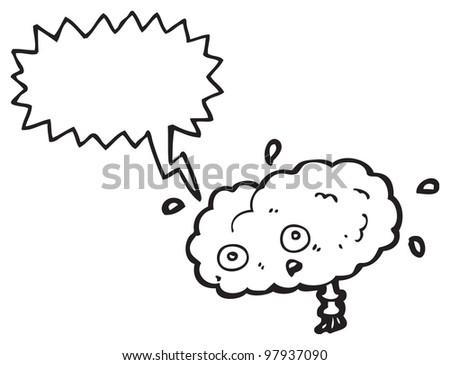 cartoon stressed brain - stock photo