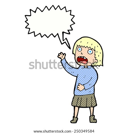 cartoon stressed out woman with speech bubble - stock photo
