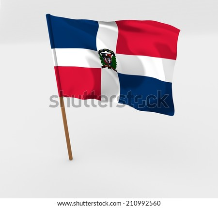 cartoon style flag of Dominican Republic - stock photo