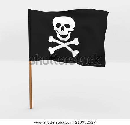 cartoon style flag of pirate skull