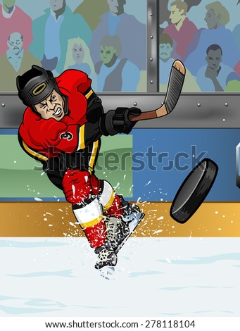 Cartoon-style illustration: a shooting hockey player