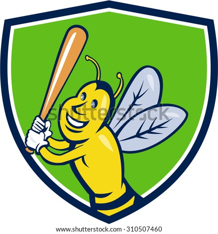 Cartoon style illustration of a killer bee baseball player smiling holding bat batting viewed from the front set inside shield crest on isolated background.  - stock photo
