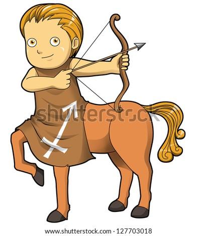 Cartoon style illustration of zodiac symbol, Sagittarius - stock photo