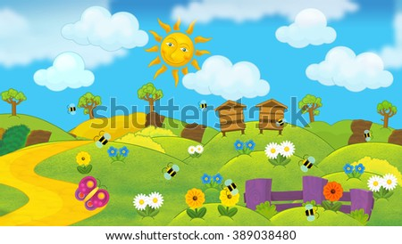 Cartoon summer nature scene - illustration for the children